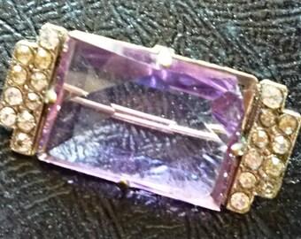 Vintage Glass rectangular Brooch. Silver tone purple  brooch.