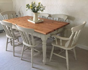 Country Farmhouse Table And Chairs Shabby Chic Kitchen Dining Table And 6 Farmhouse Chairs Dining Set * Made To Order *
