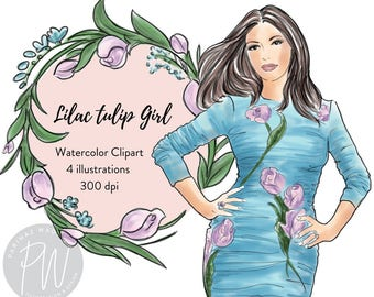 Lilac tulip Girl Watercolor Illustration Clipart collection