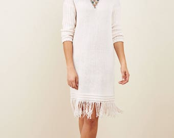 Fringe dress in Cream