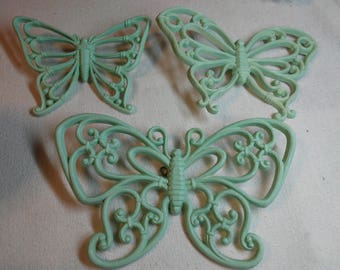 HOMCO. Blue Butterflies set of 3