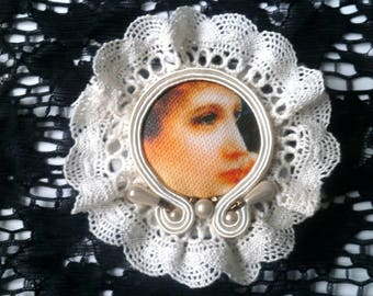 Brooch lace and soutache retro style