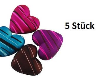 5 heart heart, pearls, rubberized heart beads, colorful,