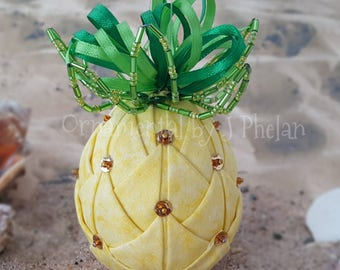 Pineapple Quilted Figurine - Handmade Fabric Pineapple Ornament - Tropical Christmas - Housewarming Gift - Whimiscal Christmas Ornament