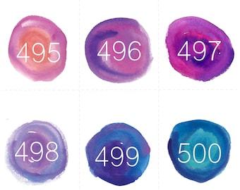 495-989 regular numbers water color circles - DIGITAL DOWNLOAD