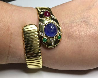 Estate 18K Yellow Gold Cabochon Sapphire, Ruby, And Emerald Diamond Bracelet 88 Grams