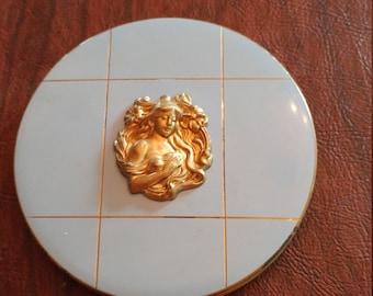 Vintage Rex Fifth Avenue Powder/Mirror Compact With Enamel and Gold Art Nouveau Design Cameo Medallion