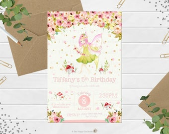 Fairy Invitation, Personalized, Printable, Any Age,  1st First Birthday Party, Invites, Digital Print Download File, Fairies, Floral, Girls