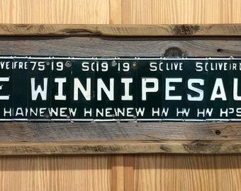 Lake Winnipesaukee New Hampshire License Plate Art Sign - Barn Wood - Green