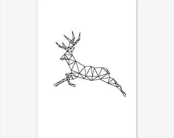 Geometric Animal Print, Nursery Decor, Nursery Prints, Baby Shower Gift, Nursery Art, Nursery Wall art, Animal Prints, Deer Print, Deer Art