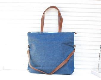 Denim and Leather Tote Bag, Tote Bag Women, Women Handbag, Woman Backpack, Convertible Backpack, Convertible Diaper Bag, Denim Handbag, Tote