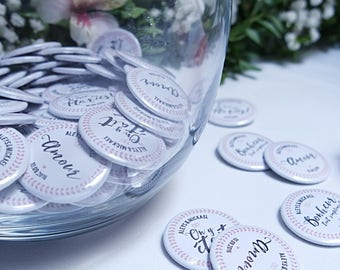 ROMANTIC wedding badge