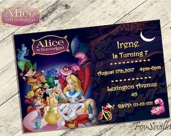 Alice in wonderland invitation,Alice in wonderland birthday invitation,Alice in wonderland birthday party,Alice in wonderland birthday,Alice