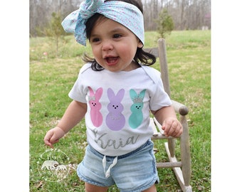 Baby Girls Personalized Peeps Easter Onesie, My First Easter Outfit, Easter Shirt, Toddler Peeps Easter Shirt, Bunny Onesie, Peeps Onesie
