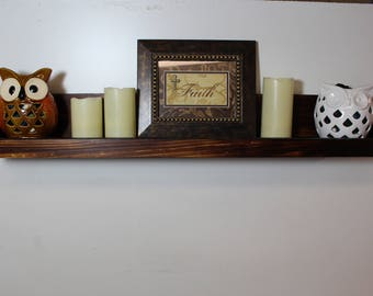 Rustic Wood Wall Shelf, Picture Shelf, Rustic Decor, Vintage Shelf, Bathroom Storage, Farmhouse Decor, Wood Shelf, Organization, Farmhouse