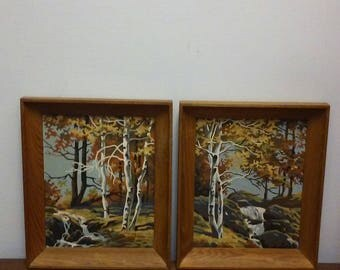 Vintage Paint by Number Set Birch Trees