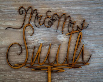 Custom Created Personalised Wedding Cake Topper - Mr & Mrs Surname - [Dorita Font]