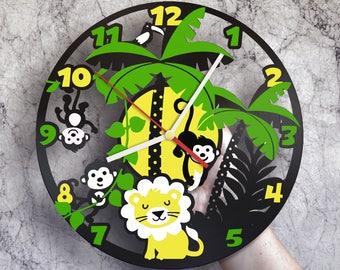 Jungle nursery decor - Vinyl record wall clock, Jungle animals, Jungle wall art, Jungle baby shower decorations,  Jungle theme birthday