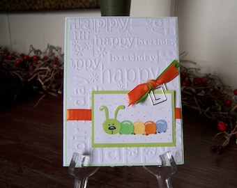 Handmade Children's Birthday Greeting Card with Caterpillar