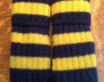 Wool Felted Sweater Mittens/Michigan/U of M/Maize and Blue/Blue and Gold Mittens/Recycled Sweater Mittens/Womens Mittens/Old Sweater Mittens