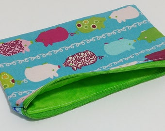 Pigs in a Row Novelty Zipper Pouch - makeup bag; pencil case; gift for him; cosmetic bag; carry all; gadget case; birthday; boys gift
