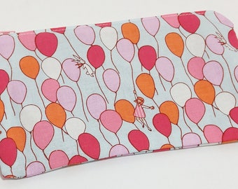 A Girl, Her Balloons & a Bunny Novelty Zipper Pouch - makeup bag; pencil case; gift for her; cosmetic bag; carry all; gadget case; birthday;