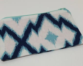White and Blue Novelty Zipper Pouch - makeup bag; pencil case; gift for her; cosmetic bag; carry all; gadget case;