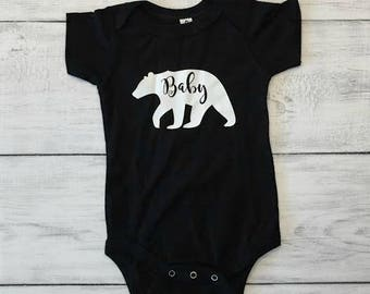 Baby Bear Tribal Arrow Teepee Onesie Bodysuit Shirt Boy Girl Black White Baby Shower Gift Father's Day Mother's Day Birth Announcement