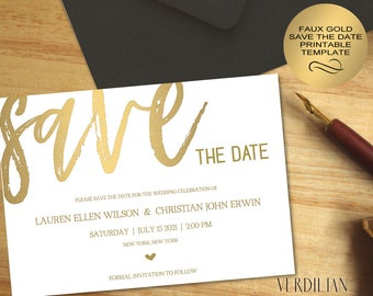 Diy save the date etsy save the date template faux gold design wedding save the date printable diy save junglespirit Gallery