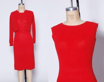 60s red knit dress / vintage 1960s sweater dress / two piece set / sweater set / 2 piece knit dress / fitted knit dress