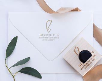 Hand Lettered Initial Custom Address Stamp, RSVP Stamp, Return Address Stamp, Wedding Stamp, Personalized Gift