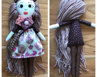 Brown Bear Handmade Cloth Doll with Wardrobe - Half Pint Totem Doll