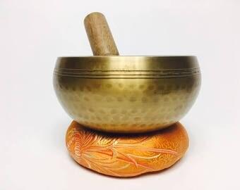 """4 1/2"""" (Sacral) Tibetan Brass Hammer Finished Sound Healing singing Bowl - 650g ॐ"""