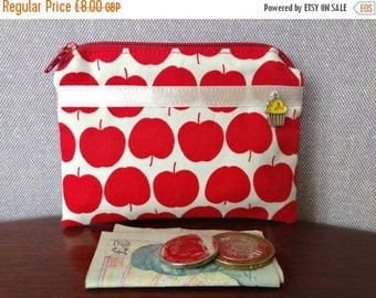 On sale Handmade cotton coin purse - red apples print
