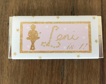 Ballerina Princess personalised chocolate wrapper
