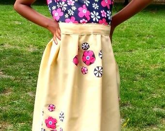 Peach dress, Flower Dress, Wide Skirt Dress, Sleeveless Dress, Elegant Dress, Unique Dress, Party Dress, Girls Dress, Occasional Dress