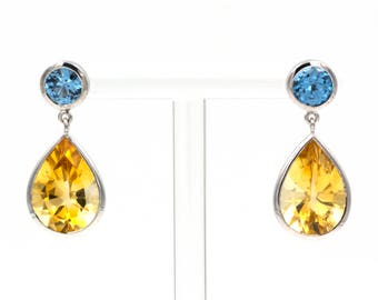 Earings - White Gold 18k/750 - Natural topaz and citrine of 10.25 ct.