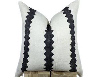 African Mudcloth Pillow Cover, Authentic African Mud Cloth Pillow | Cream & Black | Mina