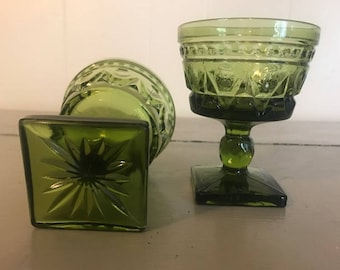 Green Goblet Glasses (Set of 2)