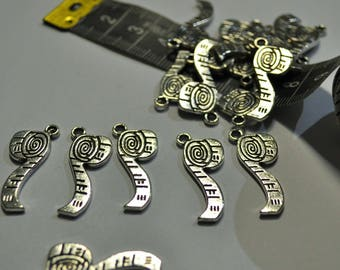 5 x Tape Measure Antique Silver Charms