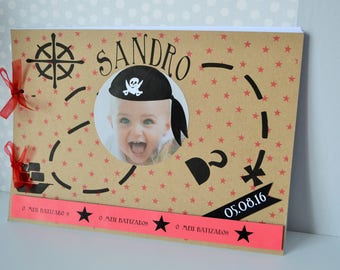 GUEST book for baptism boy theme pirate