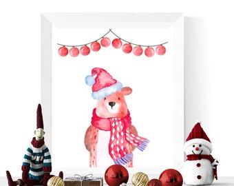Christmas Bear Printable | Christmas Printables | Kids Christmas Decor | Wall Art | Art Printables | Childrens Decoration for Christmas