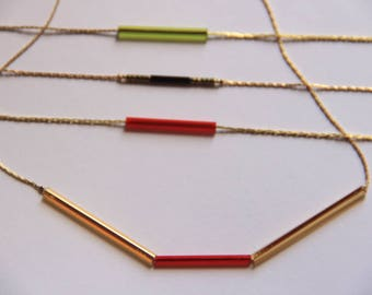 red or green minimalist gold choker. Short necklace. urban style.