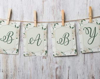 """Vintage Kitten Baby Shower by Arbor Grace Collections, 4"""" x 5"""" PRINTABLE Party Banner Cards, Vintage Kitty Theme, Baby Shower"""