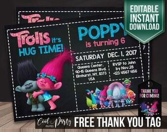 Trolls invitation, Trolls birthday invitation, birthday Invite, party Invite, editable Invitation, printable Invitation, Trolls