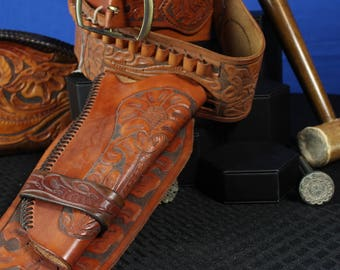 Leather Gun Holster and Belt for Standard Revolvers
