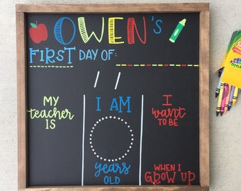 First Day of School Chalkboard, Back to School Chalkboard, Back to School Sign, First Day of School Sign, Reusable First Day of School Sign