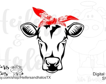 Simple cut cow with bandana - this listing is svg only