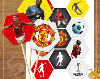 22 Manchester United Cupcake toppers, Manchester birthday party - instant download - Digital file