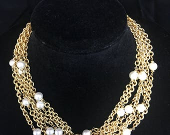 "Vintage ""Napier""Six Strand Gold Tone Faux Pearl Necklace"